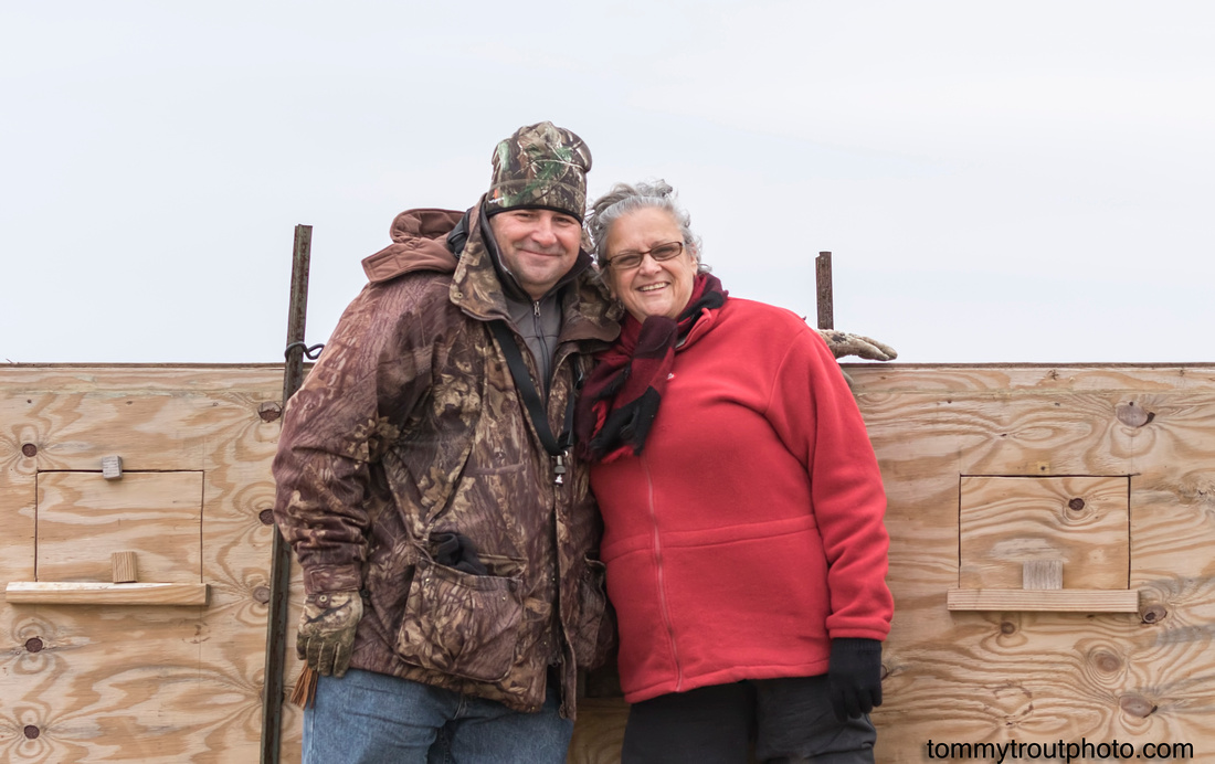 Karen and Tom Young after sitting in the box viewing Greater Prairie chickens in Wisconsin 2015